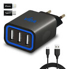 Dual Triple USB Wall Charger 5V with iPhone / Type C Adapter Fast European Plug