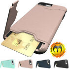 Kickstand Card Pocket Armor Hybrid Cover Case For i Phone XS Max XR X 8 6 7 Plus