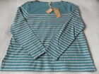 NEW  RRP £40 Fat Face Issey Stripe Top, Green/Orange/Navy                   (69)