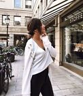 Clearance of Women Lace Up Long Sleeve Tops V-neck Loose Blouse T Shirt Crop Top