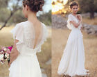 White Ivory Boho Chiffon V Neck Wedding Dresses Short Sleeve Bridal Gowns Custom