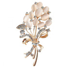 Merdia Floral Brooch Wedding Bouquets with Beautiful Created Cat's Eye for Elega