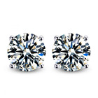 Merdia Cubic Zirconia Earring Studs S925 Sterling Silver 4 Sprong