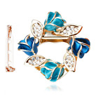 Merdia Women's Flower Scarf Clip Brooch Beautiful Buckle Ring with Created Cryst