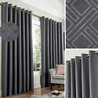 Grey Blackout Curtains Diamond Eyelet Thermal Interlined Ring Top Curtain Pairs