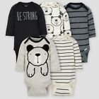 Baby Boy Lot of 5 Onesies Bear Fuzzy Ears Long Sleeve Gerber NWT NB 0-3 3-6 6-9
