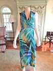 CACH'E  MAXI  DRESS SEXY  XS  POLYESTER,  FAUX WRAP HALTER TOP  OCCASION