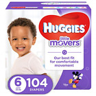 HUGGIES LITTLE MOVERS Active Baby Diapers, Size 6 fits 35+ lb., 104 Ct, ECONOMY