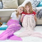 Mermaid Tail Knitted Blanket Kids Hand Crocheted Soft Warm Flannel Sleeping Bag image