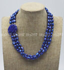 3Rows Natural 8-9mm blue Baroque pearl beads Gems flower clasp necklace 18'' AAA