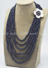 6 Rows Natural 5-6mm black pearl beads Gems shell flower clasp necklace 17-26''
