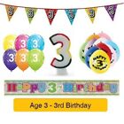 Happy 3rd Birthday AGE 3 Party Balloons Banners Badges & Decorations Helium (1C)