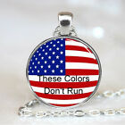 These Colors Dont Run United States Flag Glass Dome Necklace Pendant (PD0361)