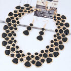 Jewelry Set Women Alloy Geometry Contrast Color Collar Necklace Earring Punk Set