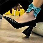 Women Bright Pointed Patent Leather High Heels Bow Party Pumps Wedding Date Club