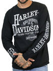 Harley Davidson Mens Authentic Label B&S Black Long Sleeve Biker T Shirt