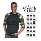 Shaka Wear Casual Raglan Tee Baseball T shirt 3 4 Sleeve Crew Neck