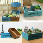 Wooden Plant Flower Pot Succulent Planter Desktop Sundries Container Box Decor