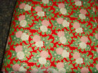 42x34 red pink white poinsettia flowers golden detail Christmas fabric material