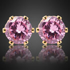 Lady jewelry gift Nib Pink Sapphire Yellow Gold Plated Earings Stud Earrings