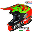 JUST1 J32 PRO MX Motocross Off Road Crash Helmet ACU Gold Approved. Red & Lime