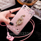 Luxury Bling Diamond Crystal Ring Holder stand Soft Case Cover & neck strap #D