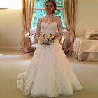 Women White Wedding Dress Bridal Gowns Full Lace Long Sleeve Backless Dress