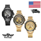 WINNER Mens Automatic Mechanical Skeleton Wrist Watch Steel Stainless Band O8V4 image