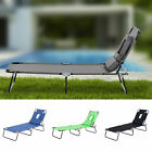 Sun Lounger Folding Recliner Chair Portable Reclining Garden Outdoor Seat Bed