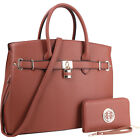 Dasein Faux Leather Satchel with Matching Wallet 5 Colors