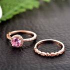 HQ 2PCs Womens Fashion 18K Rose Gold Ring Set Engagement Ring Wedding  Gift