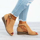 Womens Peep Toes Buckle Anke Boots Sandals Ladies Wedge Heels Summer Shoes Size