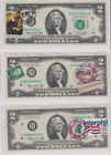 3 BILL LOT ~ STAMPED & CANCELLED 1976-GREEN SEAL $2 BILLS ~ H DISTRICT-ST. LOUIS