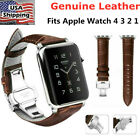 Genuine Leather Wrist Band Strap for Apple Watch iWatch Series 4/3/2/1 38mm 42mm image