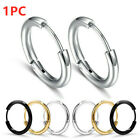 1PC Titanium Steel Hoop Buckle Earrings Studs Mens Women Circle Fashion Jewelry image