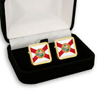 FLORIDA FLAG MENS CUFFLINKS US STATE USA + GIFT BOX ENGRAVING