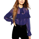 Alisa Pan Loose Top Blouses Women Dark Purple Summer Beach Sheer Holiday 01060