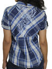 Harley-Davidson Womens Printed Eagle Plaid Blue Short Sleeve Shirt 96222-18VW $39.99 USD on eBay