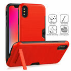 Armor Stand Card Slot Cases Wallet Back Covers For Phone XS Max XR X 8 7 6 Plus