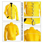 New Mens Freddie Mercury Yellow Motorcycle Jacket Faux Leather Jacket