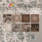 New Dixi Craft 15cm x 15cm Paper Pad Gears Background Brown