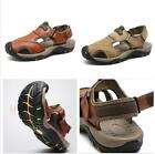 New Men's Summer Hiking Comfy Leather Beach Shoes Closed Toe Fisherman Sandals