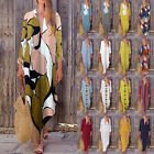 ZANZEA Women Long Maxi Dress Floral Print Split Hem Long Sleeve Shirt Dress Plus