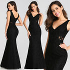Ever-Pretty Long Black V-Neck Bodycon Mermaid Evening Cocktail Gown Dress 07795
