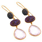 Bezel Set Luxury Druzy Super Duper Pink Topaz Gemstone Women Designer Earring