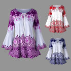 US Women's Long Bell Sleeve Tops Casual Tunic Floral Print Lace Up Shirt Blouse