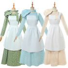 Pioneer Colonial Women Girl Costume Floral Dress Prairie Civil War Peasant Maid