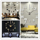Large Wall Clock Big Watch Decal 3D Stickers Roman Numerals DIY Wall Modern