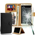 Leather Stand Wallet Case + Tempered Glass Screen Protector For Elephone Phones