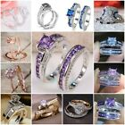 Women 925 Silver Pink Sapphire/White Topaz Stackable Rings Wedding Jewelry 5-10 image